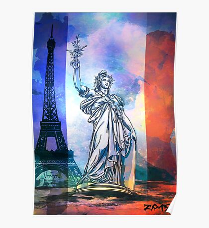 Paris,Statue Marianne. Poster