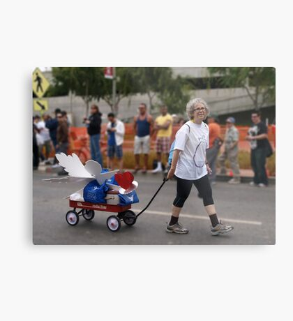 THE LADY PULLING THE PROJECT ANGEL FOOD WAGON OF LOVE Metal Print