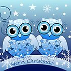Cute Blue Owls Merry Christmas text card by walstraasart