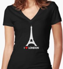 I Heart London Eiffel Tower - Joke T-Shirt  Women's Fitted V-Neck T-Shirt