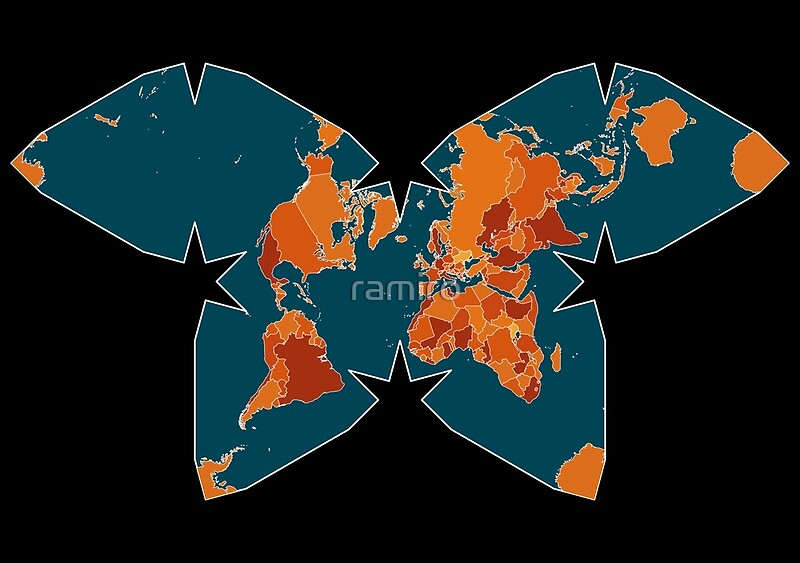 Orangered world map on blueblack backround in waterman orangered world map on blueblack backround in waterman projection by ramiro gumiabroncs Gallery
