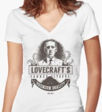 Lovecraft's Canned Octopus Women's Fitted V-Neck T-Shirt