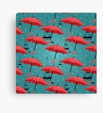 vector seamless pattern with red umbrellas Canvas Print