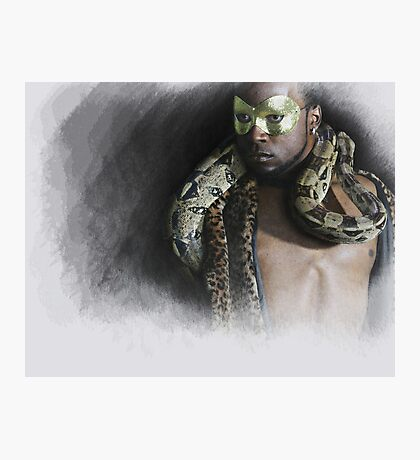The man....the snake Photographic Print