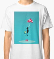 cat fly with red umbrella on rain Classic T-Shirt