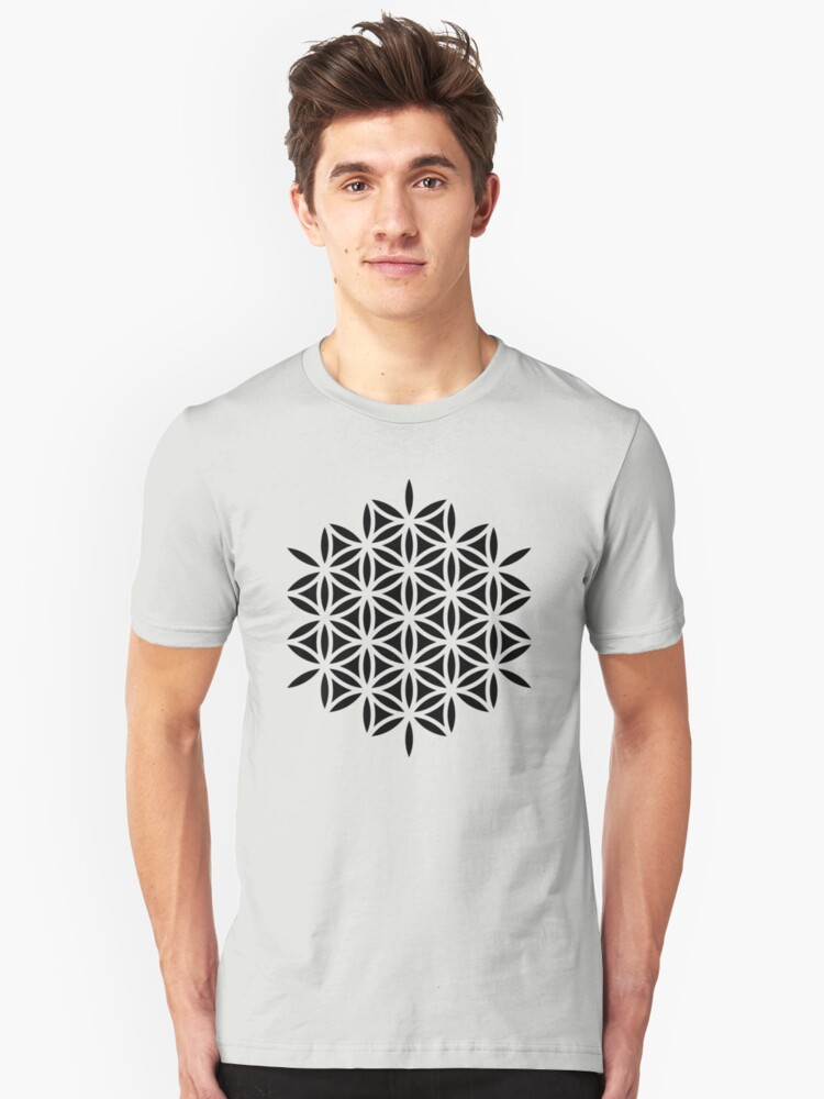 Flower of life, sacred geometry, Metatrons cube Unisex T-Shirt Front