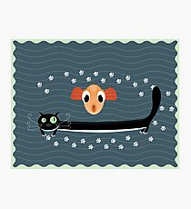 Illustration of happy black cat with big  fish Photographic Print