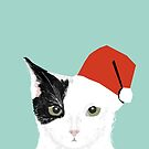 Tuxedo Cat Christmas Hat cute funny holiday cat lady gift idea by PetFriendly