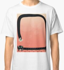 black cat play with butterfly on red background Classic T-Shirt