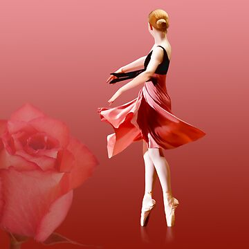 Ballerina On Pointe with Red Rose  by DeloresKnowles