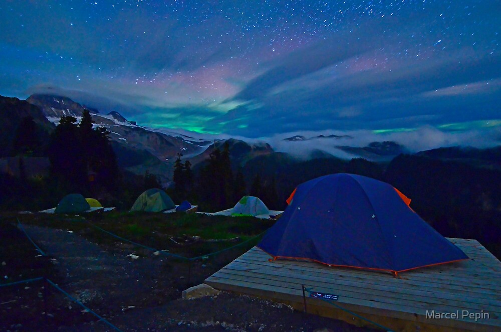 Northern Lights at basecamp by Marcel Pepin