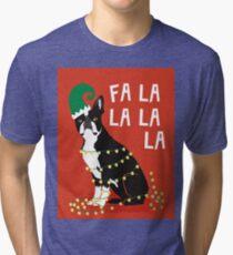 Cute Dog Christmas Gift santa pug boston terrier Tri-blend T-Shirt