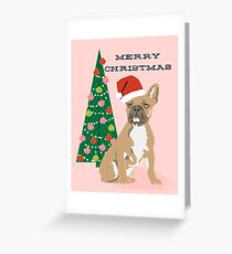 Cute Pug Christmas Tree funny dog art for small dog owners dog person gifts Greeting Card