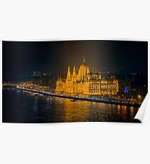 Hungarian Parliament Night Color Poster