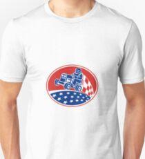 Ride On Lawn Mower Racing Retro Unisex T-Shirt