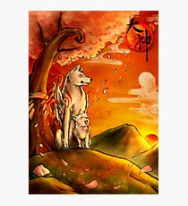 Okami wolf and pup Photographic Print