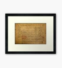 Periodic Table of the Elements Vintage Chart on Worn Stained Distressed Canvas Framed Print