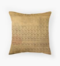 Periodic Table of the Elements Vintage Chart on Worn Stained Distressed Canvas Throw Pillow