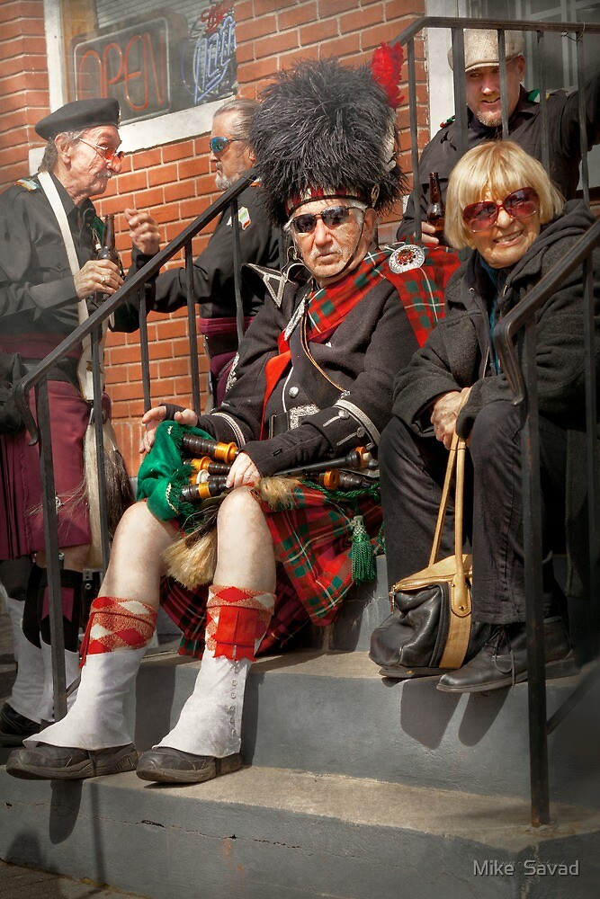 Music - Bag Pipes - Somerville, NJ - Piper resting by Michael Savad