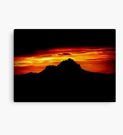Sunset Peak Over Shadowed Canvas Print