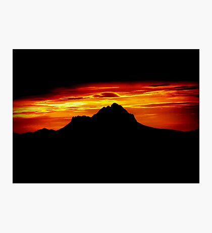 Sunset Peak Over Shadowed Photographic Print