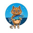 Cat with Fish by laurxy