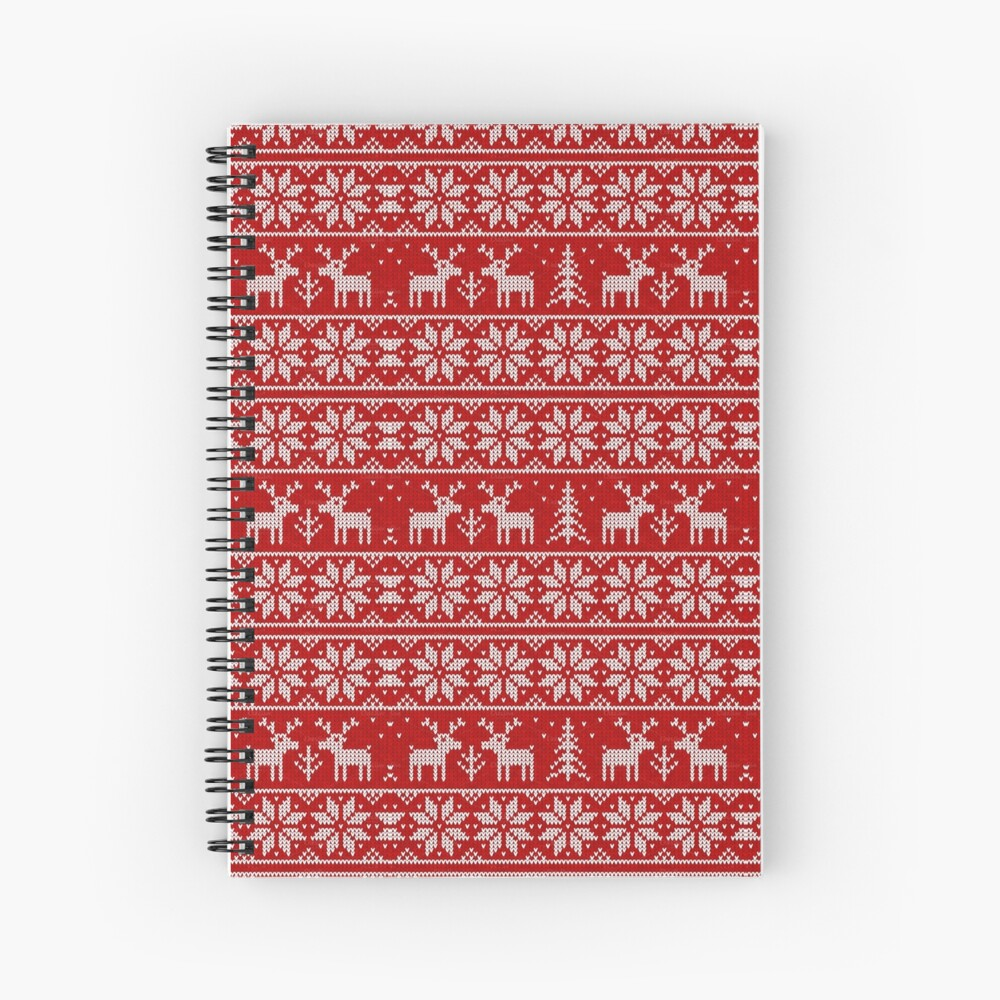Ugly Christmas Sweaters Patterns.Ugly Christmas Sweater Pattern Spiral Notebook