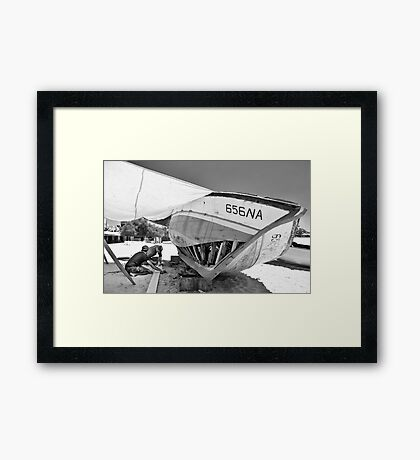 Boat Repair - Tunisa Framed Print