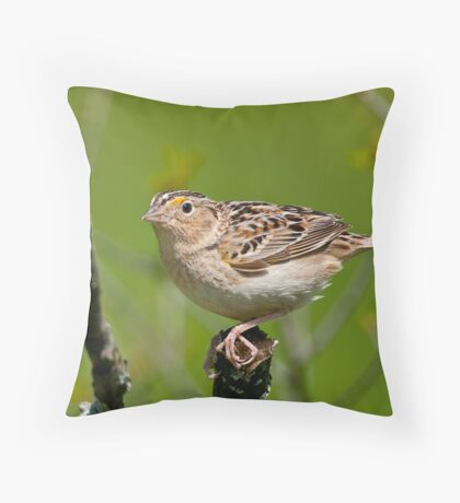 Grasshopper Sparrow Throw Pillow