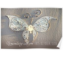 October 15th Butterfly - White Poster