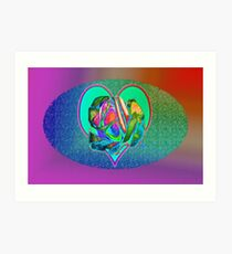 Glam rose with heart Art Print