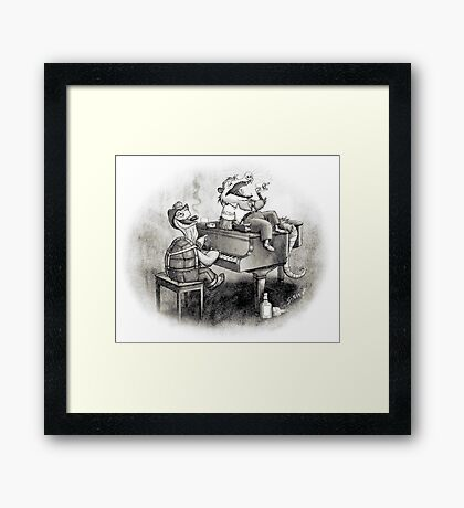 Tortoise and possum's night out. Framed Print