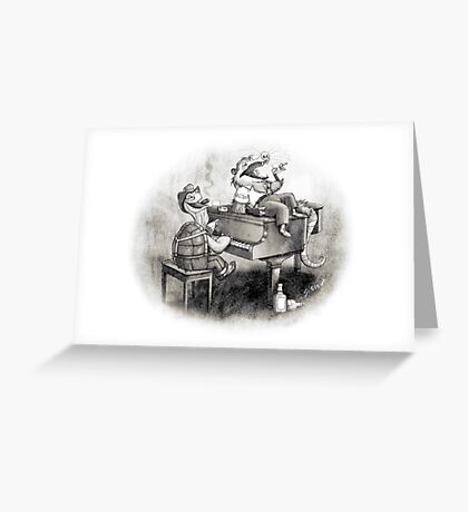 Tortoise and possum's night out. Greeting Card