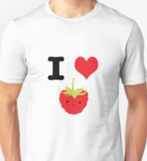 Cute Kawaii I Love Raspberries Unisex T-Shirt
