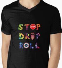 Stop, drop and roll Rainbow Men's V-Neck T-Shirt