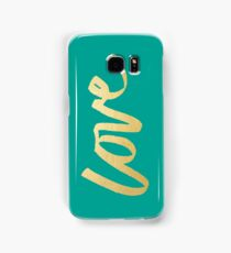 Love Gold Turquoise Brush Type Samsung Galaxy Case/Skin