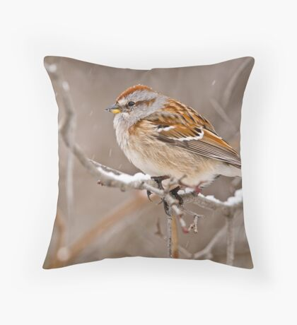 American Tree Sparrow Throw Pillow