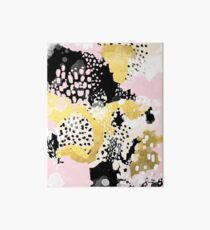 Simone - abstract painting gold foil trendy hipster pastel pink modern trendy colors decor college Art Board
