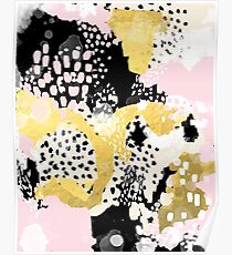 Simone - abstract painting gold foil trendy hipster pastel pink modern trendy colors decor college Poster
