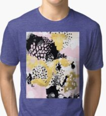 Simone - abstract painting gold foil trendy hipster pastel pink modern trendy colors decor college Tri-blend T-Shirt