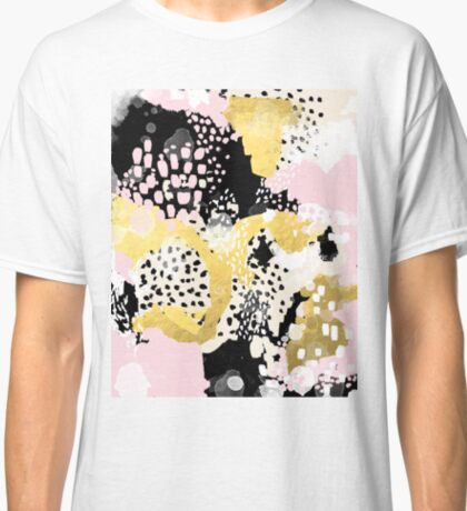 Simone - abstract painting gold foil trendy hipster pastel pink modern trendy colors decor college Classic T-Shirt