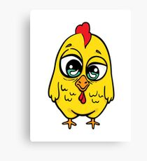 Funny yellow crazy chicken.  Canvas Print