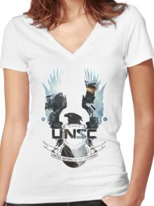 UNSC - Halo 4  Women's Fitted V-Neck T-Shirt