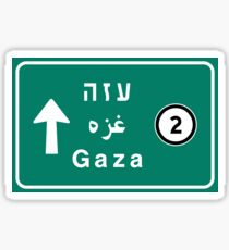 Gaza, Road Sign, Palestine Sticker