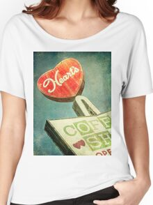 Heart's Coffee Shop Vintage Sign Women's Relaxed Fit T-Shirt