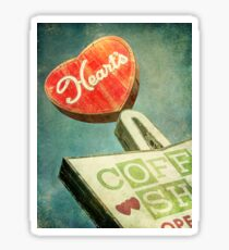 Heart's Coffee Shop Vintage Sign Sticker