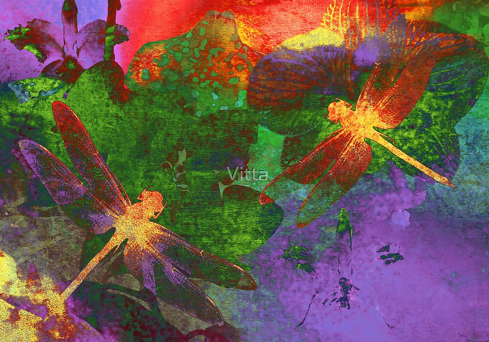 Painting Dragonflies & Flowers by Vitta