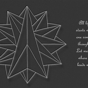 Crystalite Mandala Card white on grey w/msg by TheMandalaLady
