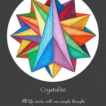 Crystalite Mandala Print - grey background w/msg by TheMandalaLady