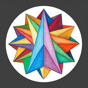 Crystalite Mandala Print w/grey matte by TheMandalaLady